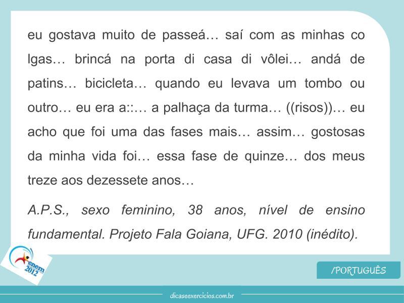 Questão de Português – Enem 2012